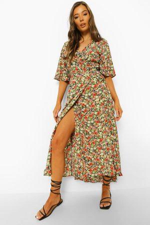Boohoo Womens Floral Print Wrap Midaxi Dress - - S