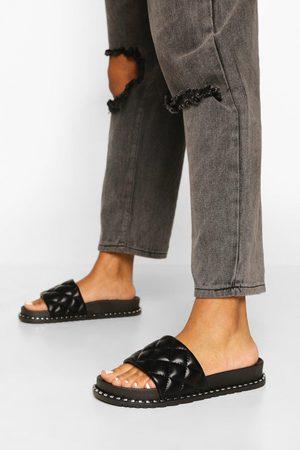 Boohoo Womens Studded Quilt Slider - - 5