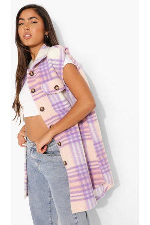 Boohoo Womens Flannel Brushed Sleeveless Shacket - - S