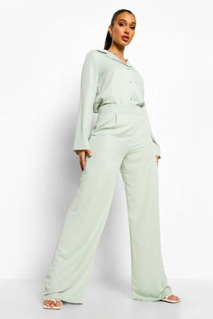 Boohoo Womens Relaxed Fit Matte Satin Wide Leg Pants - - 4