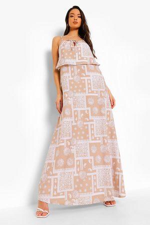 Boohoo Womens Scarf Print Halterneck Maxi Dress - - 4