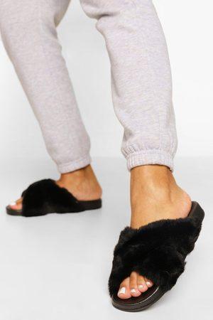 Boohoo Womens Fur Crossover Slider - - 5