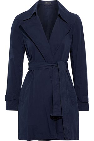 THEORY Women Trench Coats - Woman Oaklane Cotton-twill Trench Coat Navy Size S