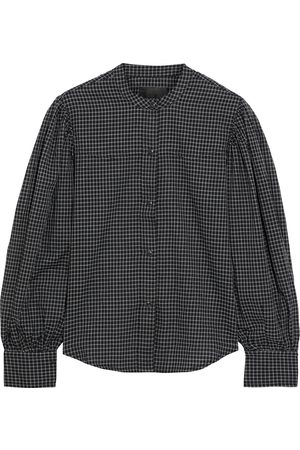 NILI LOTAN Women Long sleeves - Woman Maisie Gathered Checked Cotton Shirt Size L
