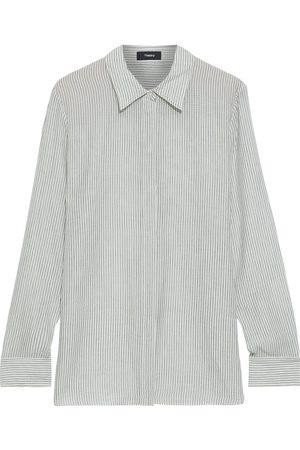 THEORY Women Long sleeves - Woman Sriped Organic Cotton Shirt Ivory Size S
