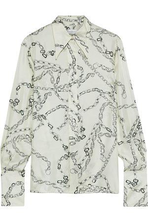 Victoria Beckham Women Long sleeves - Woman Printed Silk-twill Shirt Ivory Size 12