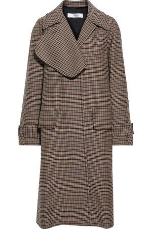 Victoria Beckham Woman Pleated Checked Wool Coat Size 8