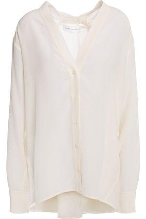 Victoria Beckham Women Blouses - Woman Twist-back Silk Crepe De Chine Blouse Ivory Size 10