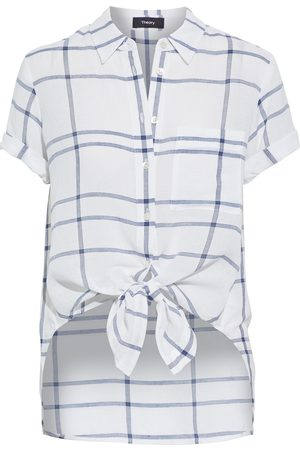 THEORY Women Short sleeves - Woman Hekanina Tie-front Checked Voile Shirt Size S