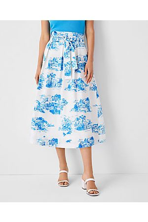 ANN TAYLOR Women Midi Skirts - Petite Floral Toile Pleated Tie Waist Midi Skirt