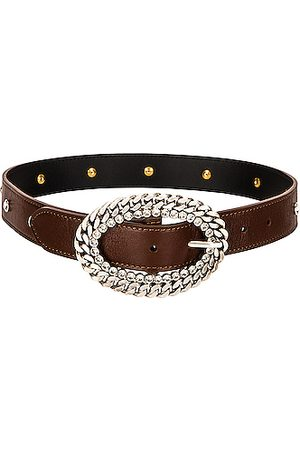 Alessandra Rich Leather Silver Chain and Crystal Buckle Belt in