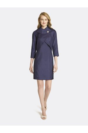 Tahari ASL Women Suits - Shantung Wrap Collar Jacket Dress Skirt Suit Navy Texture Size: 10