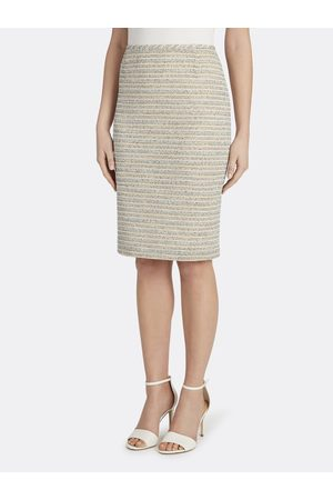 Tahari ASL Women Skirts - Metallic Bouclé Knit Skirt Turquoise Multi Stripe Size: 10