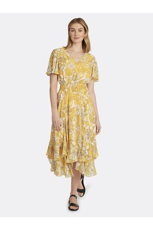 Tahari ASL Women Printed Dresses - Chiffon Smocked Ruffle Dress Golden Floral Size: 10