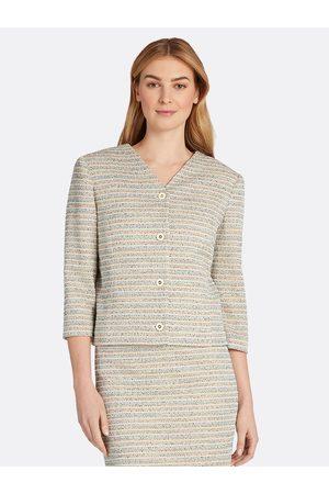Tahari ASL Women Jackets - Metallic Bouclé Knit Crop Jacket Turquoise Multi Stripe Size: 10