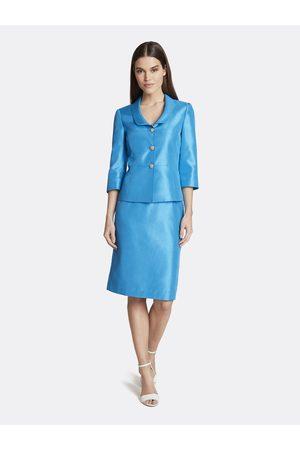 Tahari ASL Women Suits - Shantung Double-Collar Skirt Suit Texture Size: 10