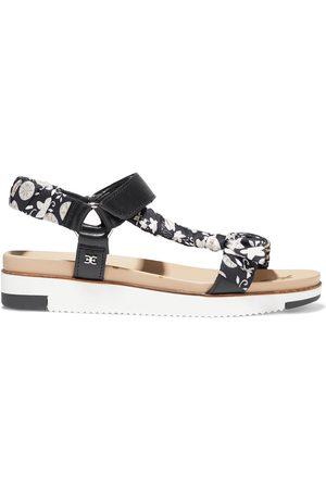 Sam Edelman Woman Ashie Floral-print Satin-twill And Leather Platform Sandals Size 10