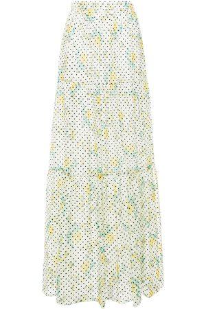 Serafini Woman Tiered Flocked Floral-print Chiffon Maxi Skirt Ivory Size 44