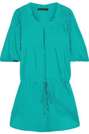 VIX PAULA HERMANNY Woman Sara Pintucked Voile Coverup Turquoise Size M