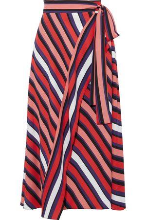 Diane von Furstenberg Women Midi Skirts - Woman Tilda Striped Crepe Midi Wrap Skirt Size L