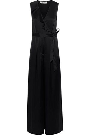 Diane von Furstenberg Woman Sol Wrap-effect Satin Wide-leg Jumpsuit Size 2