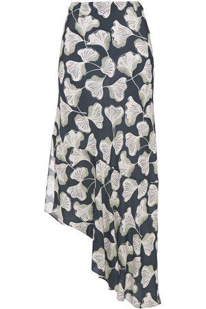 Charli Women Printed Skirts - Woman Yvonne Asymmetric Printed Crepe De Chine Midi Skirt Size 12