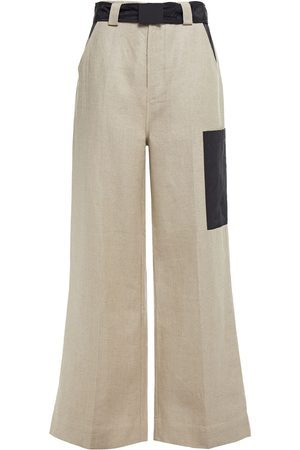 Ganni Woman Belted Shell-paneled Linen-canvas Wide-leg Pants Mushroom Size 32