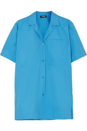 Kwaidan Editions Woman Coated Cotton-poplin Shirt Azure Size 34