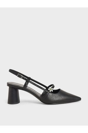 CHARLES & KEITH Women High Heels - Flower-Embellished Slingback Mary Janes