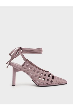 CHARLES & KEITH Women Heeled Pumps - Grosgrain Tie-Around Caged Court Shoes