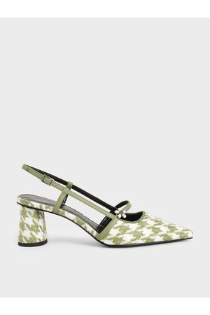 CHARLES & KEITH Women High Heels - Houndstooth Flower Embellished Slingback Mary Janes