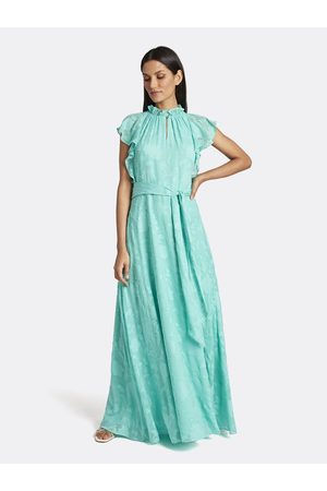 Tahari ASL Women Printed Dresses - Clip Chiffon Ruffled Gown Turquoise Floral Size: 10