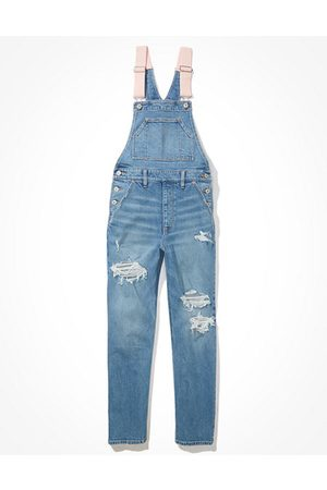 American Eagle Outfitters Women Dungarees - Stretch Ripped 90s Boyfriend Denim Overall Women's XS