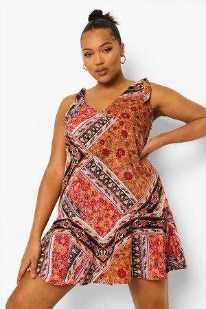Boohoo Womens Plus Floral Print Frill Hem Mini Dress - - 12