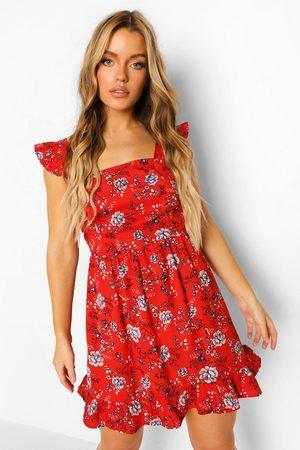 Boohoo Womens Frill Wide Shoulder Strap Floral Mini Dress - - 2