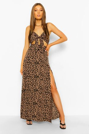 Boohoo Women Printed Skirts - Womens Leopard Print Knot Front Bralette & Maxi - - 4
