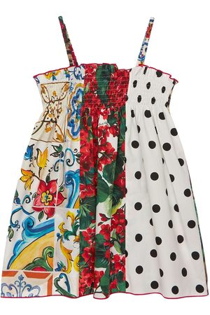 Dolce & Gabbana Girls Printed Dresses - Patchwork Print Cotton Poplin Dress