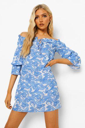 Boohoo Womens Porcelain Bardot Long Sleeve Mini Dress - - 2