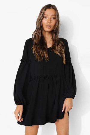 Boohoo Womens Linen Look Balloon Sleeve Ruffle Detail Smock Dress - - 4