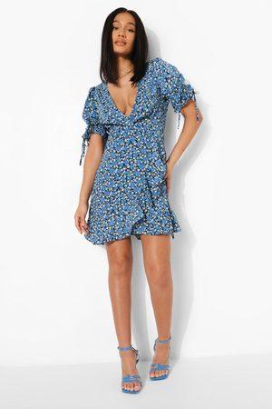 Boohoo Womens Floral Print Tie Sleeve Tea Dress - - S