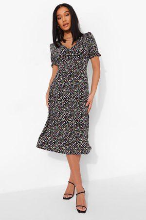 Boohoo Womens Ditsy Floral Short Sleeve Midi Dress - - S