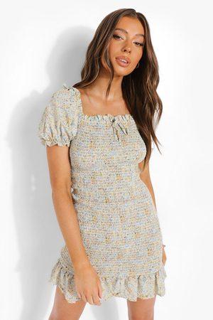 Boohoo Womens Floral Print Shirred Mini Dress - - S
