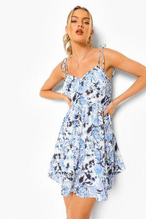 Boohoo Womens Porcelain Tie Strap Cami Swing Dress - - 12