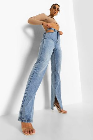 Boohoo Women Straight - Womens Cut Out Split Leg Jean - - 2