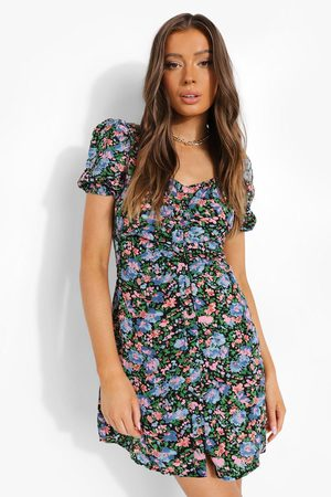 Boohoo Womens Floral Print Puff Sleeve Mini Dress - - S