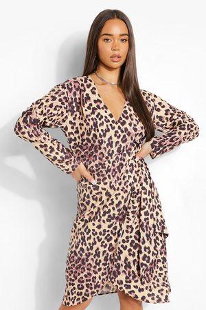 Boohoo Womens Leopard Midi Satin Wrap Shirt Style Dress - - 4
