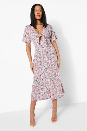 Boohoo Womens Floral Print Tie Front Midaxi Dress - - S