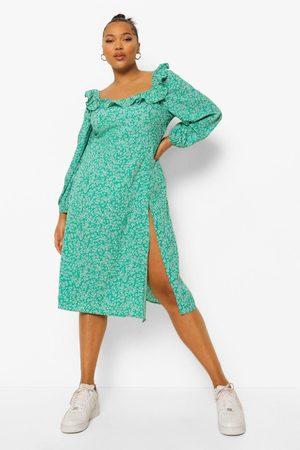 Boohoo Women Printed Dresses - Womens Plus Floral Print Square Neck Midi Dress - - 12