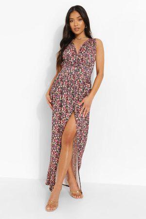 Boohoo Womens Petite Ditsy Print Plunge Drape Maxi Dress - - 2