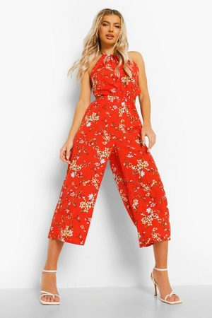 Boohoo Women Culottes - Womens Tie Neck Cut Out Floral Culotte Jumpsuit - - 4
